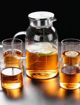 Glass Scale Water Pitcher High Temperature Resistance with Handle Lid Thickened Pitcher for Home Office Make tea Use