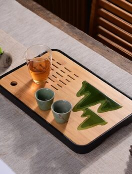 1PC Bamboo Tea Tray Drainage Water Storage Kung Fu Set Room Board Table Chinese Pu 'er tea Cup Ceremony ToolsContracted