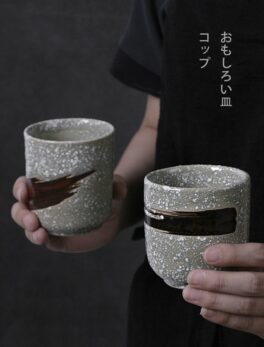 Japanese ceramic teacup water cup retro stoneware coffee cup home teacup commercial cooking tableware