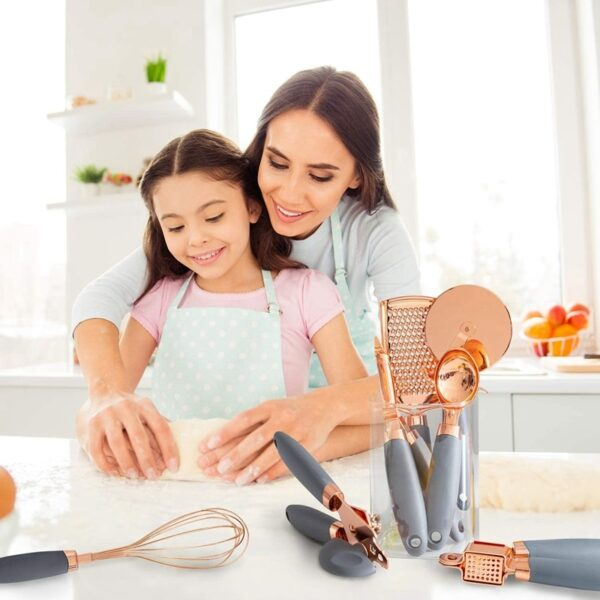 7 Pc Kitchen Gadget Set Copper Coated Stainless Steel Utensils with Soft Contact Gray Handles