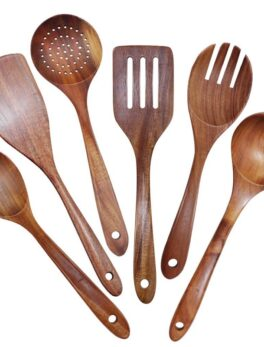 Wooden Utensils Set of 6 Large Kitchen Cooking Utensil for Non Stick Cookware Natural Teak Wood Spoons Spatula Ladle Colander