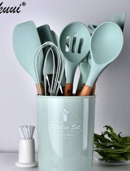 Best 9 Colors Kitchen Cooking Utensils Set Silicone Wooden Handle Spoon Turner Whisk With Utensils Holder Storage 12pcs Cookware