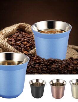 85ML Protable Stainless Steel Coffee Mug Double Layer Reusable Water Tea Coffee Cup Whiskey Milk Mugs Outdoor Travel Camping Cup