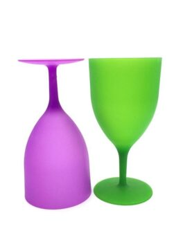 6 Pieces / Set of High Quality Plastic Wine Glasses Goblet Champagne Party Picnic Bar Drink Cup Colorful Frosted Cups