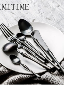 European Style Cutlery 6-piece Set Of Stainless Steel Black Gold Western Tableware Personalized Table Knife Fork Mixing Spoon