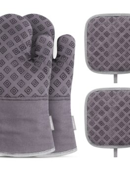 Homemaxs 2PCS Oven Mitts with 2PCS Heat Resistant Pot Holder Pad Protective Oven Gloves Oven Mitts (Gray)