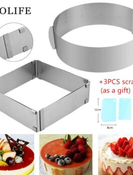 Adjustable Stainless Steel Cake Mold Cookie Fondant Mousse Ring Baking Tool Cake Mould pastry accessories Cake Decorating Tools