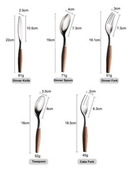 5-Piece Cutlery Set Made of Stainless Steel, Wooden Handle,Including Knife, Fork, Spoon, Serve for Adults and Children