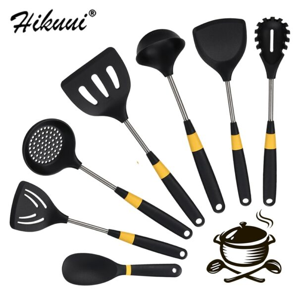 7 Pcs Kitchenware Silicone Heat Resistant Kitchen Cooking Utensils Non-Stick Stainless Steel Handle Cooking Tools Gadget Sets
