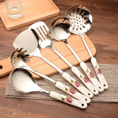 7pcs Ceramic Handles Cooking Tool Set Stainless steel Kitchen Utensils set of cookers Stir-fry Shovels Spoons Strainer Spatula