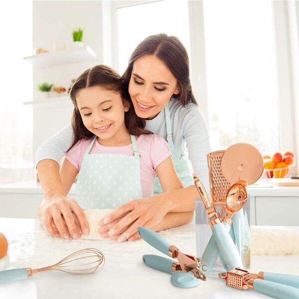 7 Pcs Kitchen Gadget Set Multifunction Kitchen Tools Copper Coated Stainless Steel Utensils with Soft Handle Garlic Press