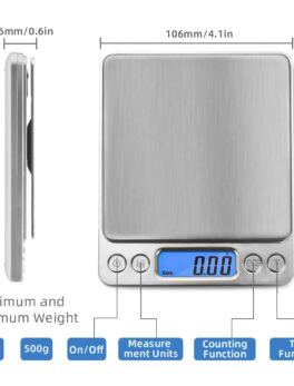 AIRMSEN Kitchen Scale Precise Digital Electronic Scale Pocket Food Jewelry Diet Gram Cooking Scale LCD Display 0.1/0.01g