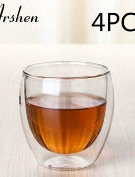 Arshen 4pcs/Set 80ml Clear Double Wall Double Glassware Coffee Tea Cups Glassware Milk Beer Soup And Insulated Wine Cups