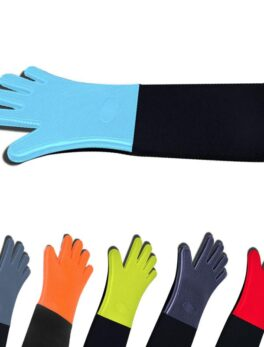 High Quality 1 Piece Heat Resistant Oven Mitts Kitchen Baking Cooking Gloves Extra Long Cotton Canvas Stitching BBQ Oven Gloves