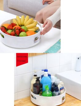 360 Rotating Tray Kitchen Storage Containers for Spice jar Food Snack Tray Bathroom Tray Non Slip Snack Dried Storage Plate