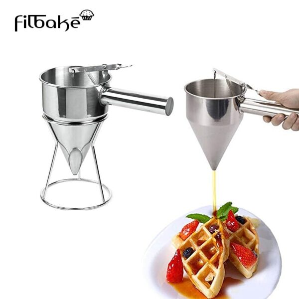 Confectionery Funnel Stainless Steel Funnel Dispenser Cake Decorating Tool Funnel With Three Nozzles And Stand Fish Balls Maker