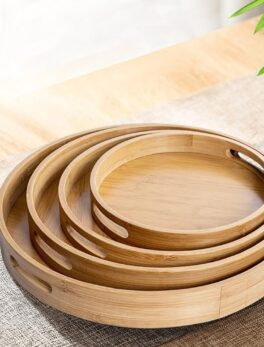 Wooden Round Serving Tray Wood Plate Tea Food Dishe Drink Platter Food Plate Dinner Beef Steak Fruit Snack Tray