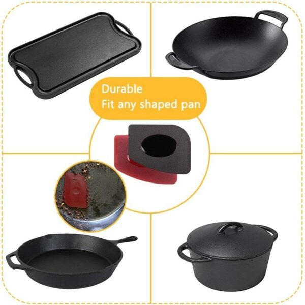 6 Piece Durable Grill Pan Scraper Plastic Set Tool and Silicone Hot Handle Holder for Cast Iron Skillets, Frying Pans and Grid