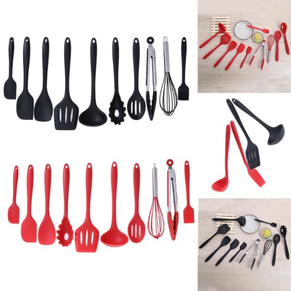 10pcs/set Household Non-stick Kitchen Utensils Set Silicone Cookware Spatula Ladle Slotted Spoon Tongs Pasta Fork Cooking Tools