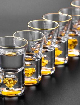 Top Grade Manual Crystal Shot Glass Built In Pure Gold Goldleaf Liquor Spirits Firewater Mini Wine Cups Wine Divider Gift Box