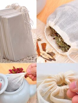 10/50/100Pcs Large Cotton Muslin Drawstring Reusable Bags for Soap Herbs Tea eco friendly products Kitchen Organizer