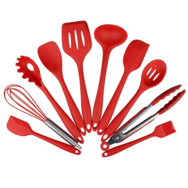 4 or 10 Pcs/Set Silicone Kitchen Utensils Set Non-Stick Cooking tools Tong Spoon Server Whisk Ladle Strainer Slotted Turner