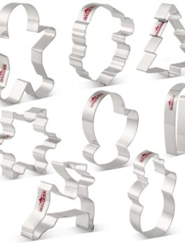 KENIAO Christmas Cookie Cutter Set - 8 Piece - Fondant / Pastry / Bread / Sandwich / Biscuit Cutter - Stainless Steel