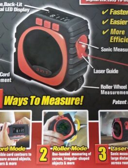 Profession Measure 3-in-1 Digital Tape Measure String Laser Roller Sonic Modes Measuring King Tools Roll Cord Mode High Accuracy