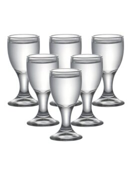 Set of 6pcs 0.3oz Lead Free Glass Machine Made Chinese Old Fashioned Shot Glasses for Liqueur Vodka Spirit Dinks 10ml