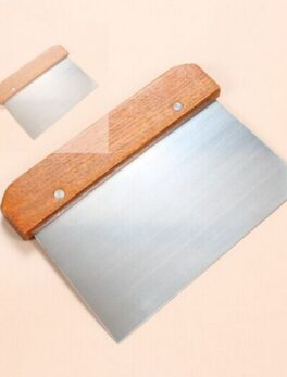 High quality rice rolls stainless steel kitchen noodle scraper blade wooden handle cutter slice chopping board scraper