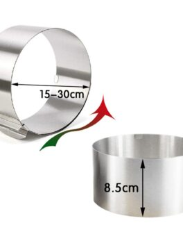 1Pcs Retractable Stainless Steel Circle Mousse Ring Baking Tool Set Cake Mould Mold Size Adjustable Bakeware 15-30cm 6-12inch