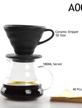 New Ecocoffee New Arrival Freeshipping Eco-friendly V60 Drip Sets 580ml Heatproof Coffee Server Kettle Filters Hot Sale