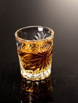Set of 6 Heavy Base Shot Glasses Set Machine Made with Engraved Liquor Glass for Bar and Wedding Spirit Drinks 55ml