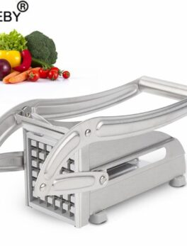 Stainless Steel French Fries Potato Chips Strip Slicer Cutter Chopper Chips Machine Making Tool with 2 Blad Potato Cut Fries