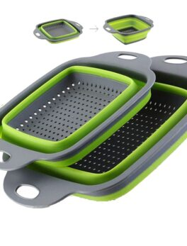 2 Style Foldable Silicone Fruit Vegetable Washing Basket Strainer Creative Kitchen Accessory Home Gadgets Supplies Square Round