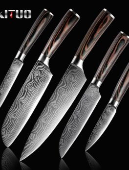 XITUO 5PCS Set Kitchen Knife Damascus Laser Stainless Steel Blades Chef Knife Santoku knife Utility Paring knives Cooking Tools