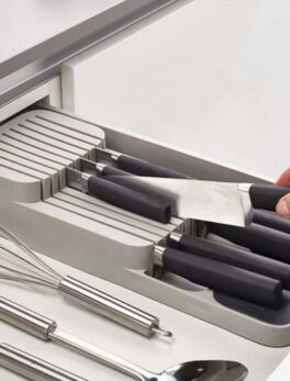 Cutlery Storage Box Plastic Knife Block Holder Drawer Knives Fork Spoons Storage Rack Knife Stand Cabinet Tray Kitchen Organizer