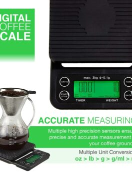 Coffee Digital Scale with Timer, High Accuracy Kitchen Food Scale with Tare Function, 6.6LB/3KG Max Load, 0.1g Precision Sensor