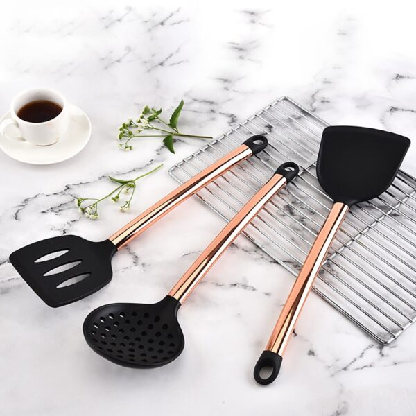 8 pcs Cooking Tools Rose Golden Stainless Steel Silicone Spoon Soup Ladle Spatula Turner Kitchen Cooking Utensil Set