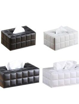 Simple PU Tissue Box Rectangle Paper Towel Holder Desktop Napkin Storage Container Kitchen Tissue Tray For Home Office