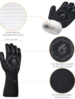 1 Pair Oven Mitt Heat Resistant Lower Than 800℃ Cotton Silicone Protective BBQ Grilling Gloves Baking Accessories