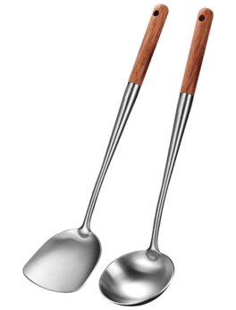 Wok Spatula and Ladle Tool Set, 17 Inches Spatula for Wok, Stainless Steel Wok Spatula