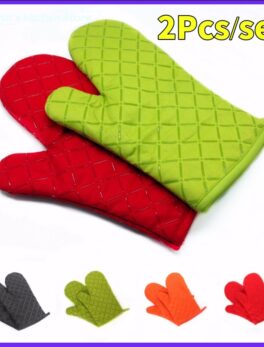 2 pcs Kitchen Oven Mitts With Non-Slip Silicone Printed Cotton Glove 1 Pair of Heat Resistant Cooking Baking Grilling Tools