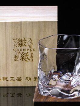 Chamvin Edo Cut Cup Japanese Whiskey Glass Wine Cocktail Glasses Crumple Paper Bar Rock Cup With Wooden Box