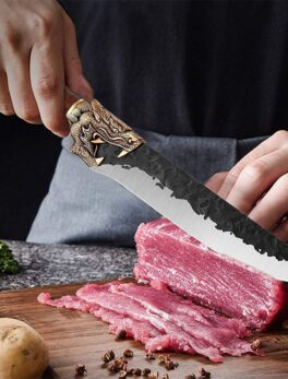 Little Cook Handmade Kitchen Chef Knife Fixed blade Sharp meat Sashimi Knives Chinese cleaver Vegetable cutter Cooking Tools