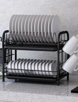 2/3 Tiers Dish Drying Rack Holder Basket Plated Iron Home Washing Great Kitchen Sink Dish Drainer Drying Rack Organizer Black