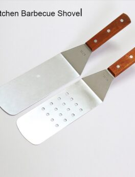 Stainless Steel Wooden Handle BBQ Grill Turner Spatula Kitchen Cooking Utensils Accessories for Cutlets Bacon Teppanyaki Pancake