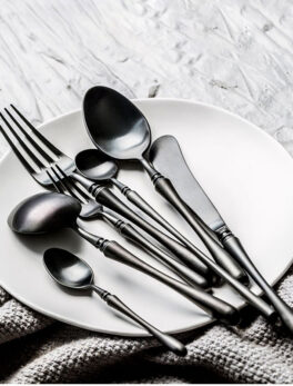 1PC European Style Cutlery Set Of Stainless Steel Black Gold Western Tableware Personalized Table Knife Fork Mixing Spoon